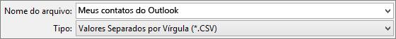 Salvar seu catálogo de endereços contato como um arquivo. csv