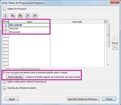 Imagem da caixa de diálogo Editar Tabela de Pesquisa
