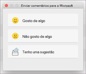 Caixa de diálogo Comentários para MacOS