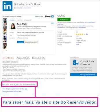 Link para o site de um desenvolvedor de aplicativos
