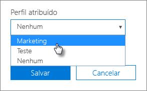 No painel Dispositivo, selecione um perfil Atribuído para aplicá-lo.