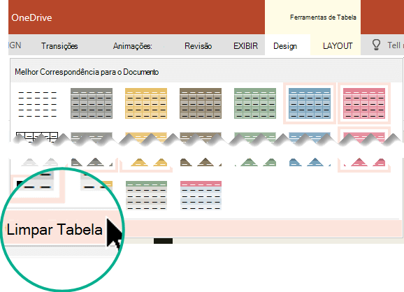 Remover um estilo de tabela usando o comando limpar tabela.