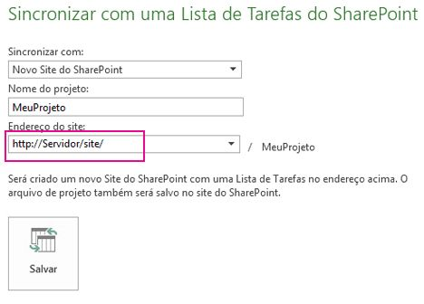 Sincronizar com novo site do SharePoint