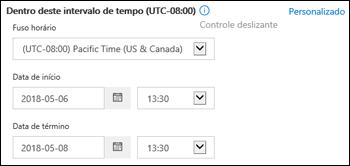 Intervalo de tempo personalizado em um novo Rastreamento de Mensagem no Centro de Conformidade e Segurança do Office 365