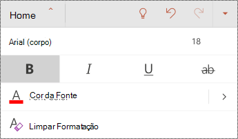 Menu fonte no PowerPoint para Android.