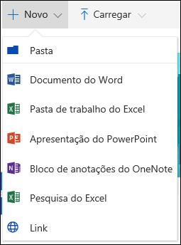 Criar um novo arquivo em uma biblioteca de documentos no Office 365