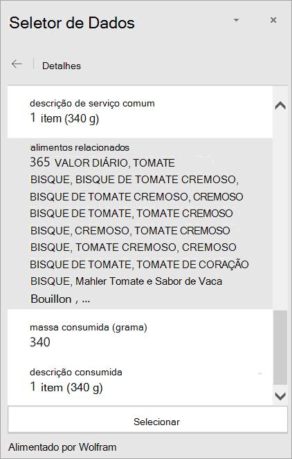 Captura de tela dos detalhes de um resultado de sopa cremosa de tomate no Seletor de Dados.