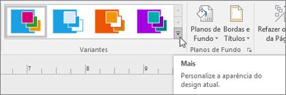 Faixa de opções de Variantes do Visio