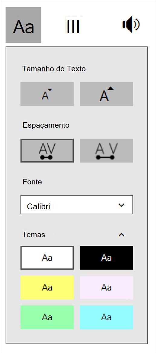 Menu de opções de texto na parte de imersão leitor de suplemento de ferramentas de aprendizado para o OneNote