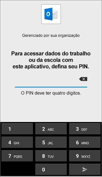 Defina o PIN do aplicativo Outlook no Android