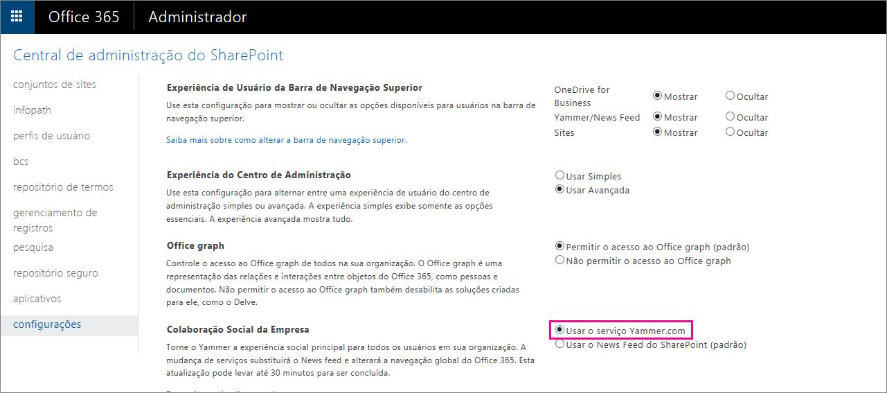Centro de administração do SharePoint mostrando a configuração do serviço Yammer.com de usuário