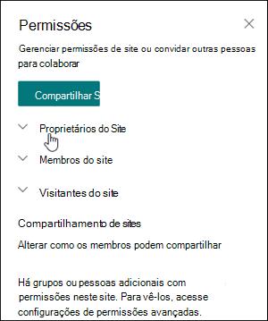 Caixa Permissões de site