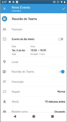 Nova página de evento com o botão de reunião de Equipe ativado