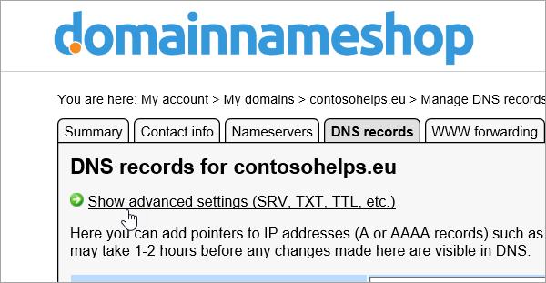 Mostrar configurações avançadas para os registros DNS em Domainnameshop