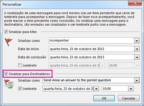 Caixa de seleção do comando Sinalizar para Destinatários na caixa de diálogo Personalizado