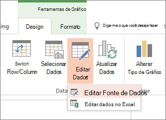 Ferramentas de gráfico com dados de edição selecionadas