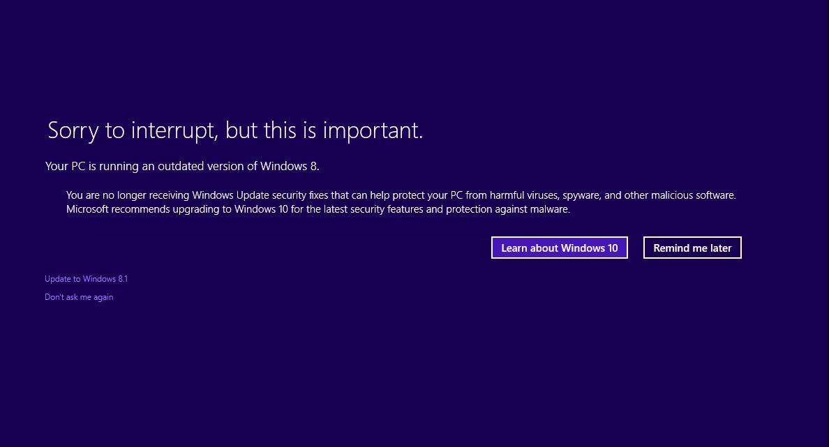 Seu computador está executando uma versão desatualizada do Windows 8