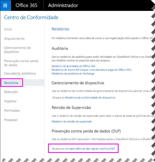 Página de relatórios no Centro de Conformidade e Segurança do Office 365
