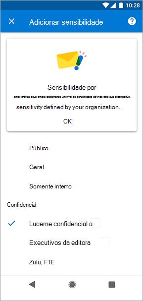 Captura de tela de rótulos de sensibilidade no Outlook para Android