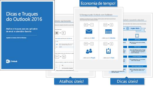Capa do livro eletrônico Dicas e Truques do Outlook 2016, páginas mostrando algumas dicas