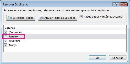 Caixa de diálogo Remover Duplicatas