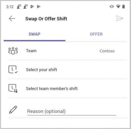 Trocar um turno em turnos do Microsoft Teams