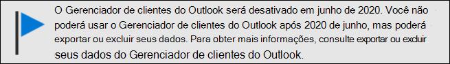 Fim do suporte do Gerenciador de clientes do Outlook em junho de 2020