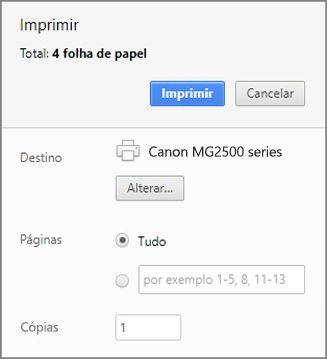 Opções do painel Imprimir do Google Chrome