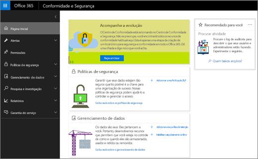 Captura de tela da home page do Centro de Conformidade e Segurança do Office 365.