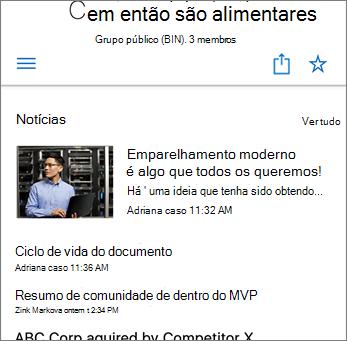 Captura de tela de Notícias da Equipe no site