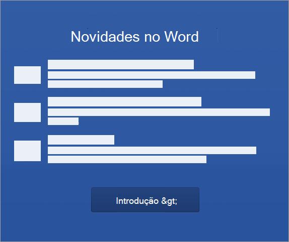 Iniciar a ativação do Word 2016 para Mac