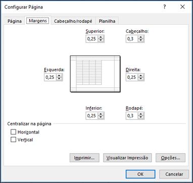 Configurar Página > Opções de margem