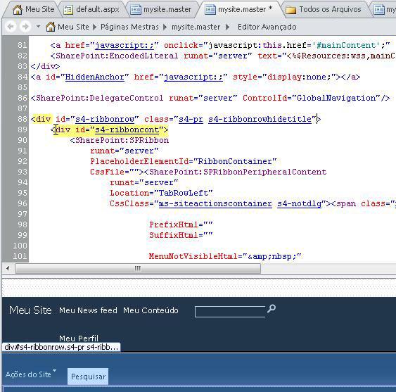Usando marcas Div ao personalizar a página mestra de Meu Site