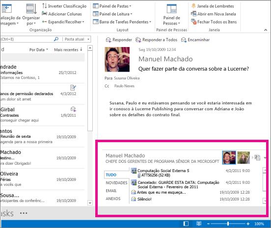 O Outlook Social Connector após ser expandido