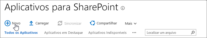 Catálogo de aplicativos do SPO do SharePoint com o botão Novo realçado