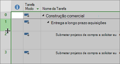 Modo de exibição de gráfico de captura de tela de Gantt com cursor focalizando divisória de linha