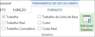 Guia Ferramentas de Uso da Tarefa - Formato, botão Adicionar Detalhes