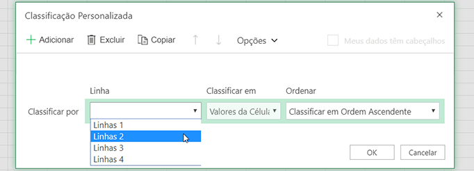 A lista suspensa de linha na caixa de diálogo de classificação personalizada está aberta ao selecionar a linha da esquerda para a direita