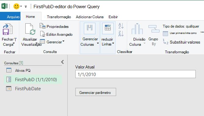 Editor do Power Query exibindo um parâmetro