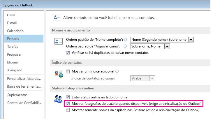 Captura de tela da janela Opções do Outlook com a caixa de seleção Habilitar fotos destacada