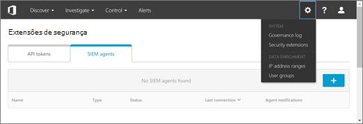 No portal do ASM, escolha Configurações > extensões de segurança