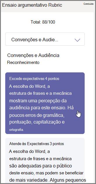 Selecione a nota que você deseja atribuir ao aluno para a seção selecionada e digite comentários na parte inferior