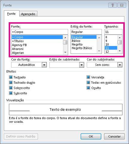 opções de fonte, estilo da fonte, e tamanho na caixa de diálogo fonte