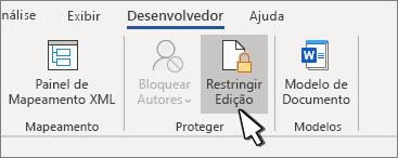Botão restringir edição