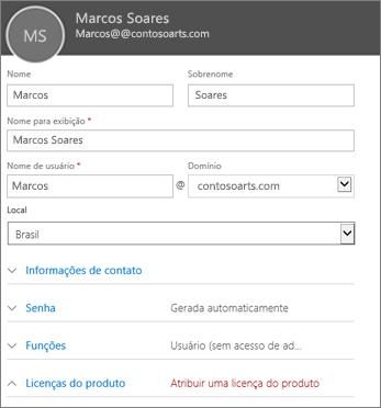 Insira as informações do usuário no cartão Novo usuário