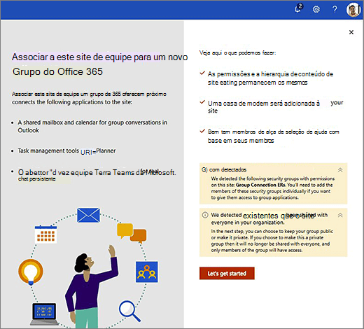 Esta imagem mostra a primeira tela do assistente de criação do novo Office 365.