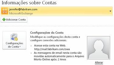 Configurações de conta do Exchange no modo Backstage incluindo informações do OWA e do Arquivo Morto Online