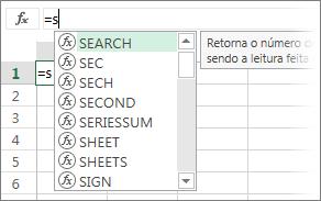Lista do Preenchimento Automático de Fórmulas