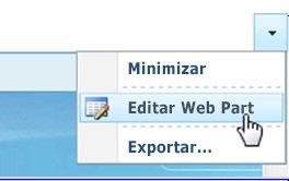 Clique em Editar Web Part