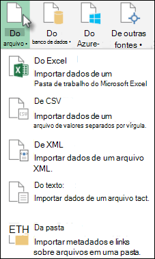 Caixa de diálogo do Power Query do arquivo